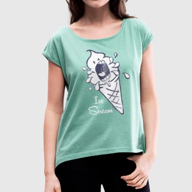 SmileyWorld 'Ice Scream' teenager t-shirt - Women's T-Shirt with rolled up sleeves
