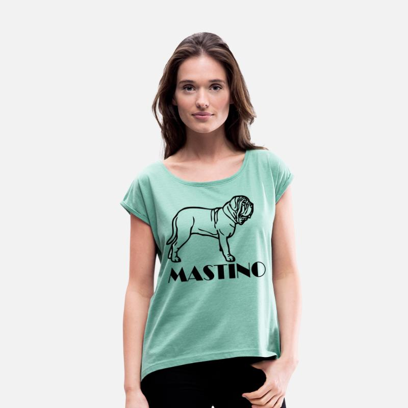 Puppy T-Shirts - mastino ©  www.dog-power.nl - Women's Rolled Sleeve T-Shirt heather mint