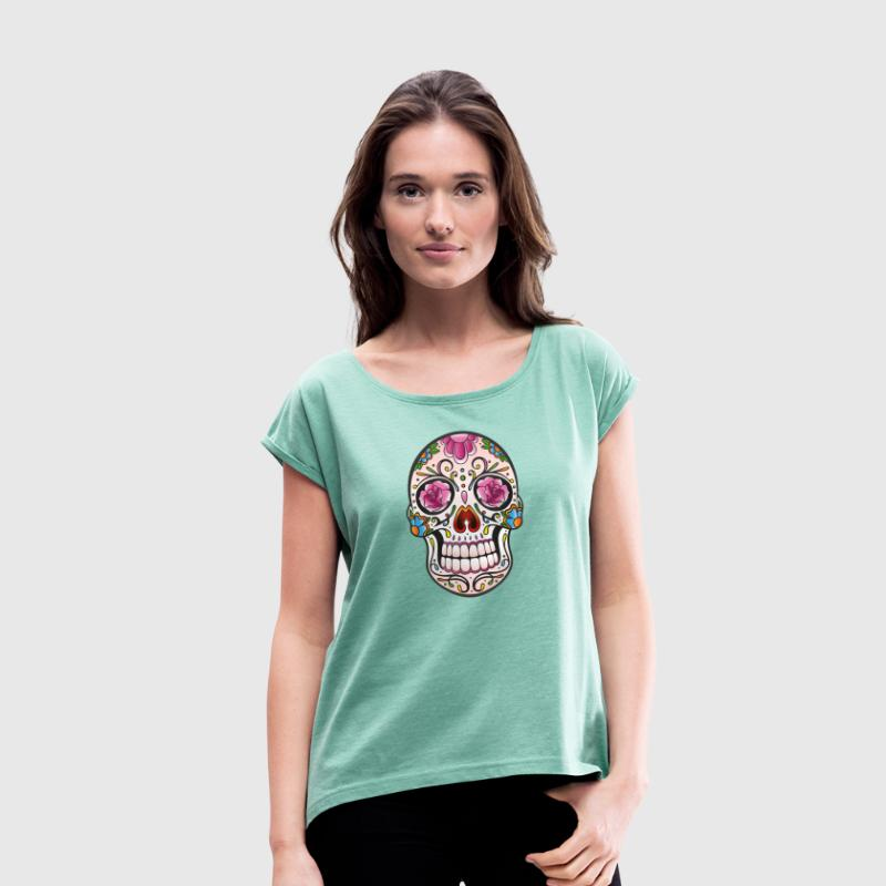 Mexican Sugar Skull, day of the dead - Women's T-shirt with rolled up sleeves