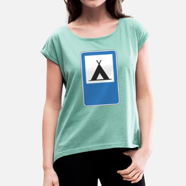 Triangle Sign Road sign triangle - Women's T-Shirt with rolled up sleeves
