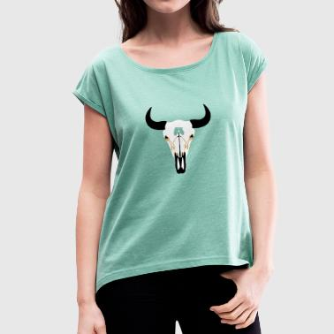 Buffalo Head, Bison - Women's T-Shirt with rolled up sleeves