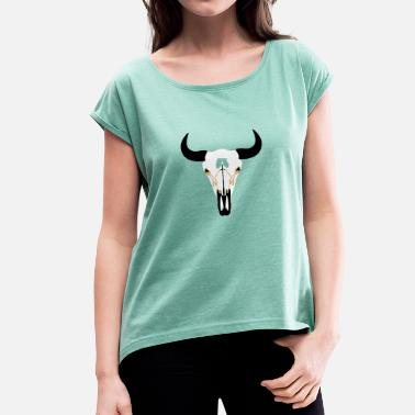 Bison Skull Buffalo Head, Bison - Women's T-Shirt with rolled up sleeves