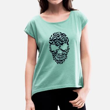 Shape death head shape butterfly skull fantasy skull - Women's T-Shirt with rolled up sleeves
