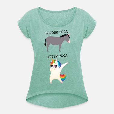 Before Yoga - After Yoga- Dabbing Unicorn T-shirt med upprullade ... eea2ae578206d