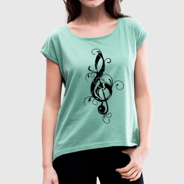 Clef, note, sheet, music, musical, notes, classic - Women's T-shirt with rolled up sleeves