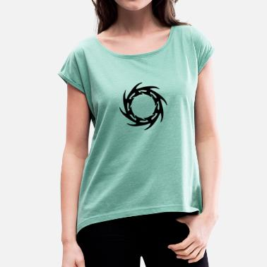 Runen Tribal Tattoo Wurf SternTribal Tattoo Rune - Frauen T-Shirt mit gerollten Ärmeln