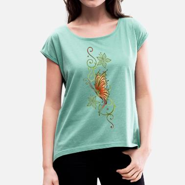 Floral Flower Ornament Floral ornament with flowers and butterfly - Women's T-Shirt with rolled up sleeves