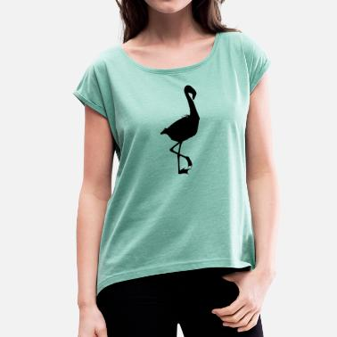 South East Asia Flamingo Shadowed - Women's T-Shirt with rolled up sleeves