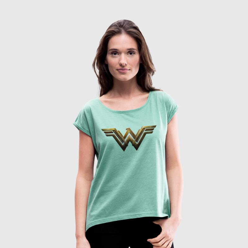 Warner Bros Wonder Woman Logo - Frauen T-Shirt mit gerollten Ärmeln