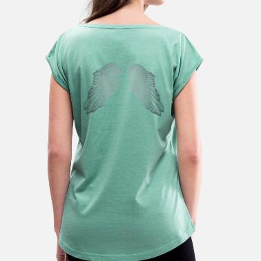 Angel's Wings Hovering Silver Angel Wings - Women's T-Shirt with rolled up sleeves