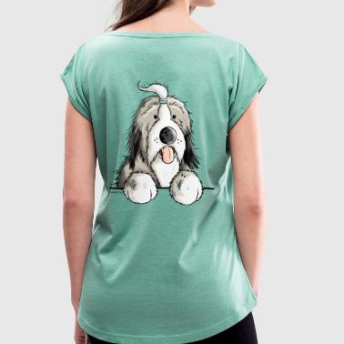 Happy Bearded Collie - T-shirt à manches retroussées Femme