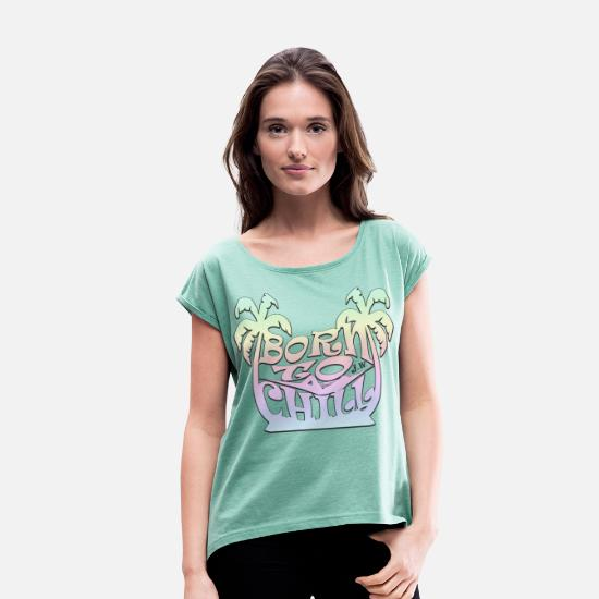 Strand T-shirts - Born To Chill | Easy Vintage - Vrouwen T-shirt met opgerolde mouwen munt gemêleerd
