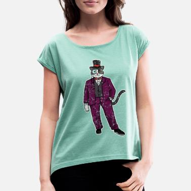 Sir Katze Gentleman in Comic Cartoon Retro Vintage - Frauen T-Shirt mit gerollten Ärmeln