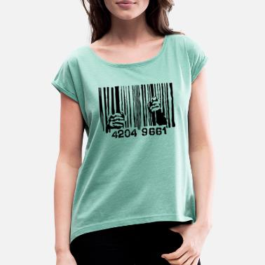 Bar Code Behind bars bar code - Women's Rolled Sleeve T-Shirt