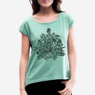 Outdoors Edible wild herbs, green, vegan, cook, chef, food - Women's Rolled Sleeve T-Shirt