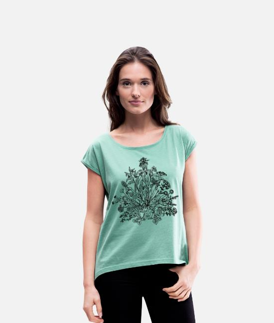 Nature T-Shirts - Edible wild herbs, green, vegan, cook, chef, food - Women's Rolled Sleeve T-Shirt heather mint