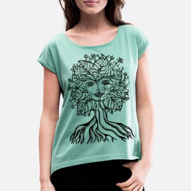 Baum Baum Fee, Elfe, save earth planet, vegan festival - Frauen T-Shirt mit gerollten Ärmeln