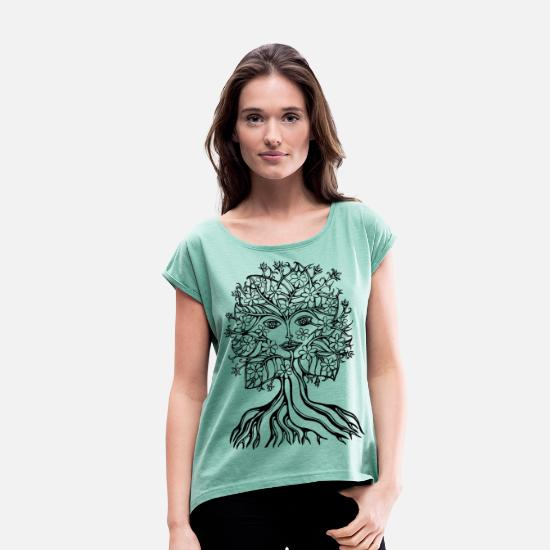 Vegan T-Shirts - Tree fairy, save, earth, planet, forest, fantasy - Women's Rolled Sleeve T-Shirt heather mint