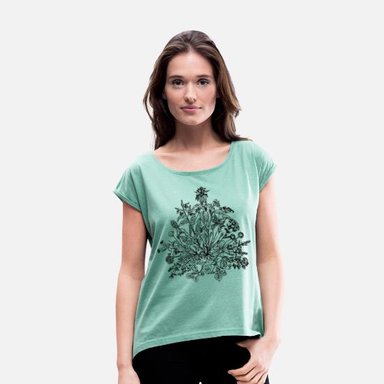 Vegan T-Shirts - Edible wild herbs, green, vegan, cook, chef, food - Women's Rolled Sleeve T-Shirt heather mint