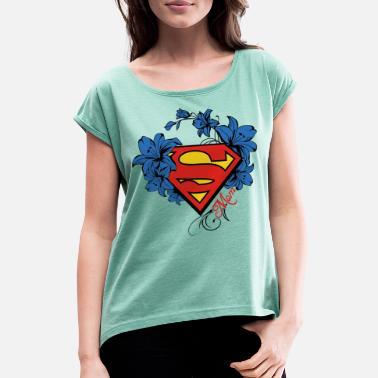 Supergirl Superman Super Mom Flowers Red - Frauen T-Shirt mit gerollten Ärmeln