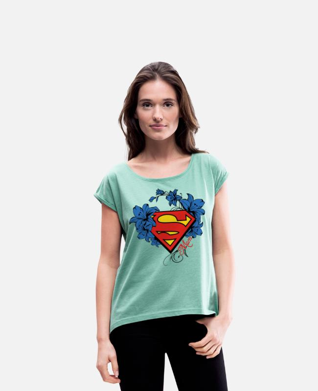 Superheld T-shirts - Superman Super Mom Flowers Red - Vrouwen T-shirt met opgerolde mouwen munt gemêleerd