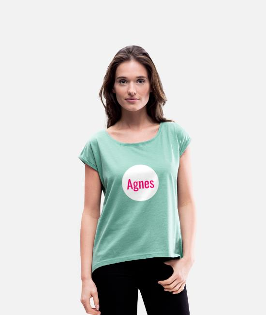 Idea T-Shirts - Agnes - Women's Rolled Sleeve T-Shirt heather mint