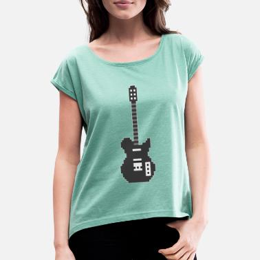 Guitar Player Pixel E Guitar Player Guitarist Gamer Gift - T-shirt à manches retroussées Femme