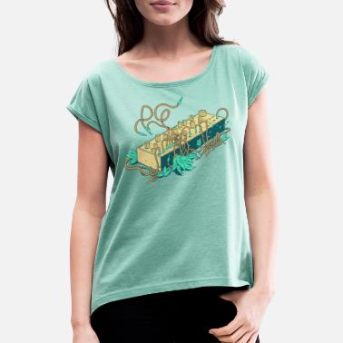 Modular Synthesizer - Turquoise - Women's Rolled Sleeve T-Shirt