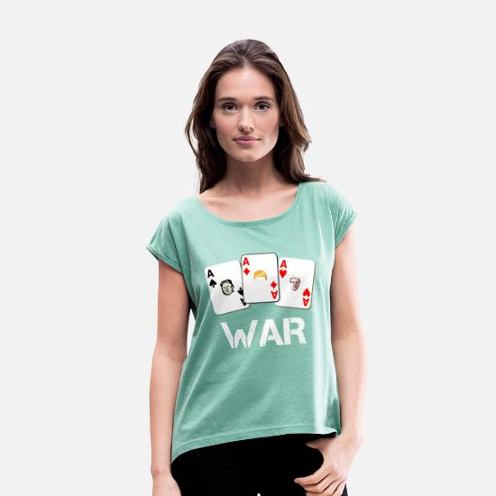 Usa T-Shirts - WAR / War - Women's Rolled Sleeve T-Shirt heather mint