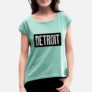 Down With Detroit Detroit USA Americas Cities City Michigan detroit - Women's Rolled Sleeve T-Shirt