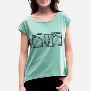 Turntable turntable only. - Camiseta con manga enrollada mujer