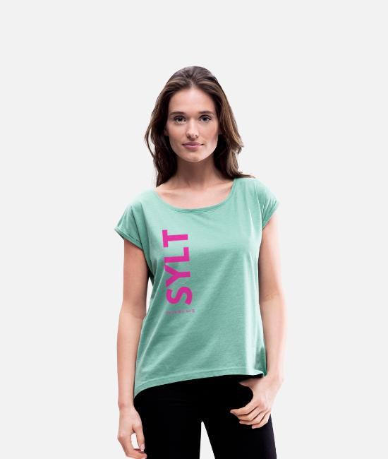 Sail Boat T-Shirts - Sylt lettering with coordinates - Women's Rolled Sleeve T-Shirt heather mint