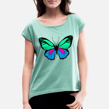 Butterflies beautiful butterfly - Women's Rolled Sleeve T-Shirt