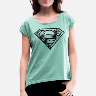 Superman Superman S-Shield Logo black and white - T-shirt à manches retroussées Femme