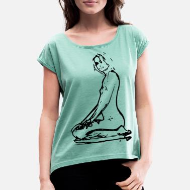 Naked Babe Sexy girl in erotic position - Women's T-Shirt with rolled up sleeves