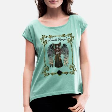 Symbols Angel Shirt, Black Angel, Mystic Angel - Women's Rolled Sleeve T-Shirt