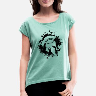 Spartan Helmet spartan helmet spartan blob - Women's T-Shirt with rolled up sleeves