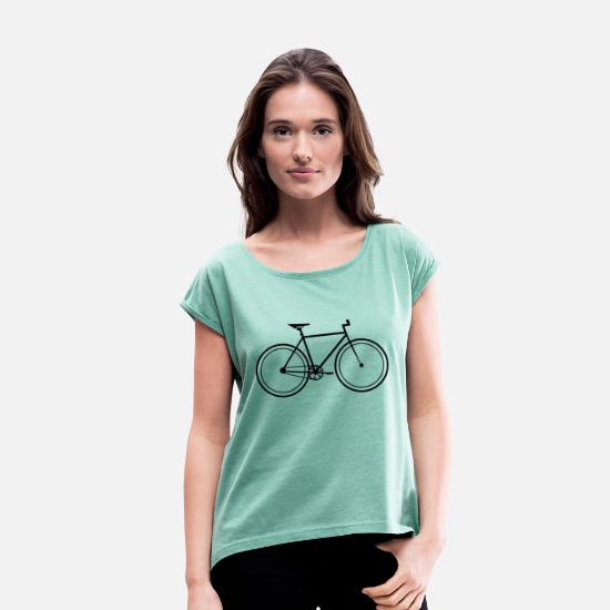 Single Speed T-shirts - Fixie single speed cykel - T-shirt med rulleærmer dame mintmeleret
