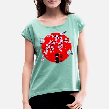 Japanese Cherry Blossom Geisha Japanese Character 1 - Women's Rolled Sleeve T-Shirt