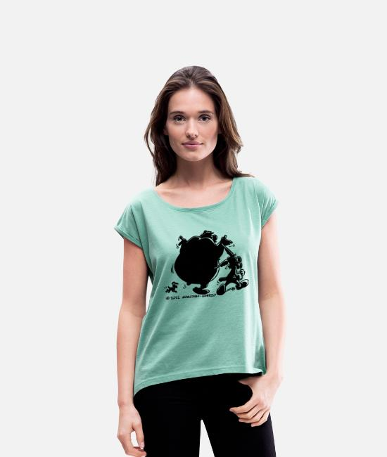French T-Shirts - Asterix & Obelix with Idefix shadow Women&apos - Women's Rolled Sleeve T-Shirt heather mint