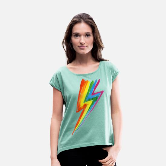 Lightning T-Shirts - Rainbow Power Blitz - Hit by rainbow lightning! - Women's Rolled Sleeve T-Shirt heather mint