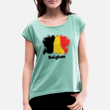 Belgium Flag Belgium Belgium flag - Women's T-Shirt with rolled up sleeves