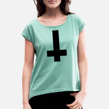 Satanic Cross Satanic cross - Women's T-Shirt with rolled up sleeves