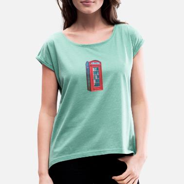 London phone booth - Women's Rolled Sleeve T-Shirt