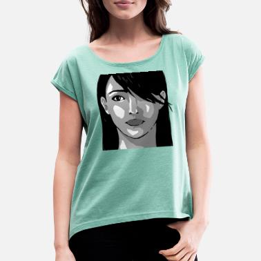 Woman Face Woman face illustration - Women's T-Shirt with rolled up sleeves
