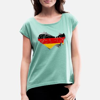 Torn Apart Germany, Germany, torn, torn up - Women's Rolled Sleeve T-Shirt