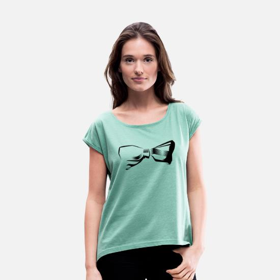 Symbol  T-Shirts - bow bow tie symbol - Women's Rolled Sleeve T-Shirt heather mint