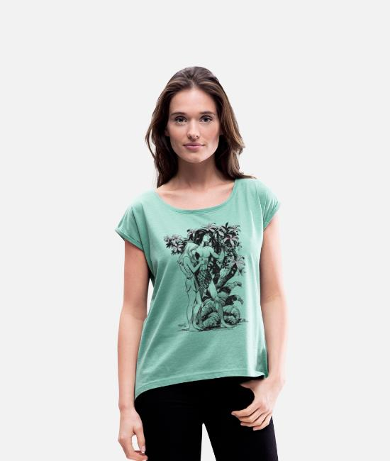 Nature T-Shirts - Tarzan and Jane - Women's Rolled Sleeve T-Shirt heather mint