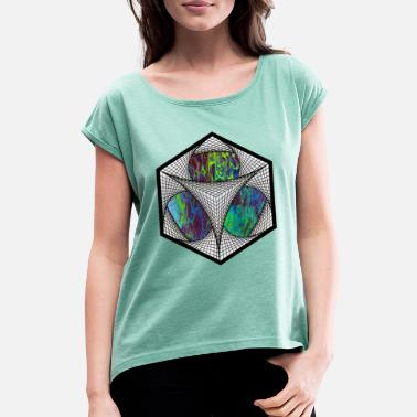Artsy Hexagon Artsy - Women's Rolled Sleeve T-Shirt