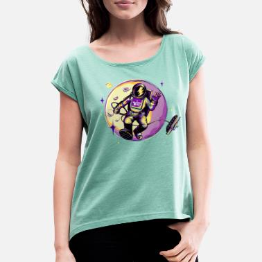 World Of Tanks Blitz Astronaut in space - Women's Rolled Sleeve T-Shirt